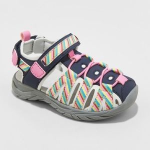 Girls Fisherman Sandal Shoes Rainbow and Navy NWT